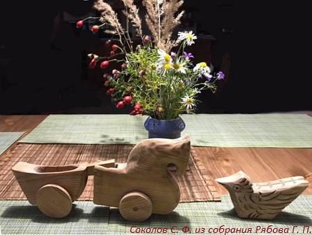 Работы мастера городецкой резьбы по дереву Сергея Федоровича Cоколова